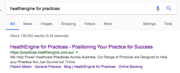 Screenshot of Google SERP for HealthEngine for practices