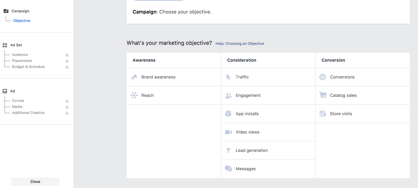 Screen shot of objective screen of Ads Manager
