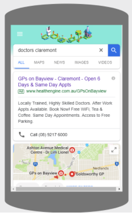 GPs on Bayview paid search ad