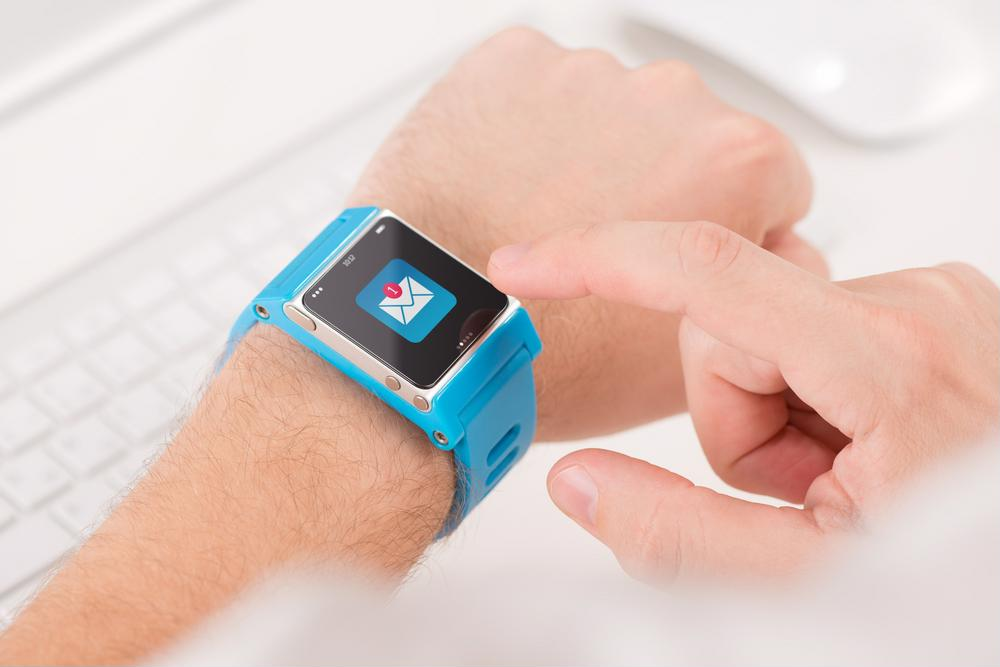 A patient using their smart watch