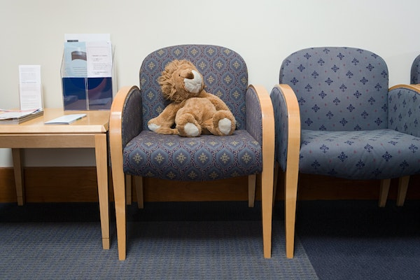 Teddy bear in waiting room