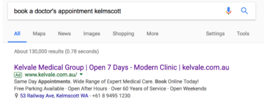 Google search for doctor's appointment