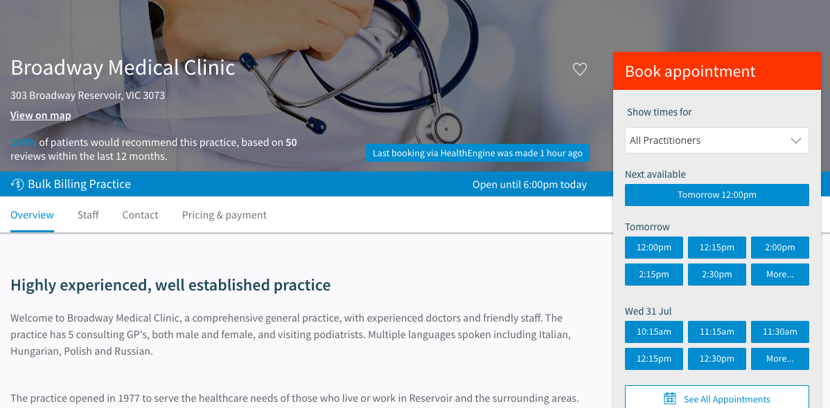 Broadway Medical Clinic's profile on HealthEngine