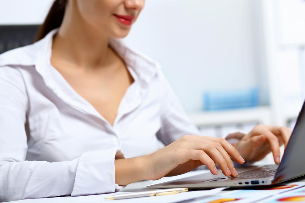 Female using laptop