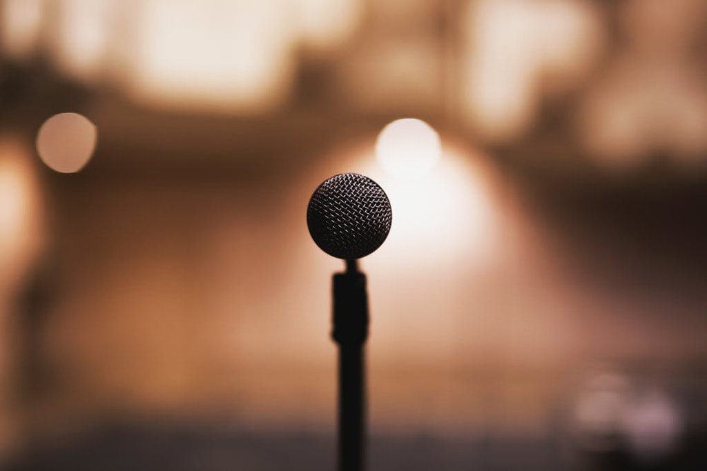 Close-up of microphone with blurred background